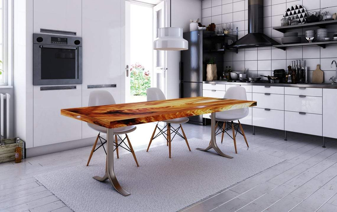 Stunning Finished Acacia Wood Live Edge Dining Table